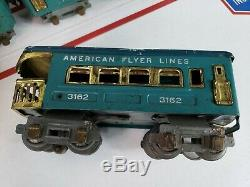 1930-32 American Flyer 0 Gauge 3107 Electric Loco & Cars Untested For Repair