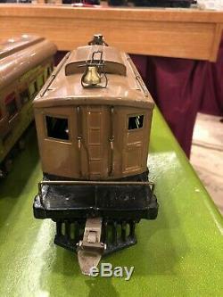 Ives Prewar Std Gauge No. 3236 Electric Box Cab with 3 Passenger Cars 184,185,186