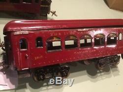 Ives Standard Gauge Red 3242 Engine Original paint & 184,185 Parlor & 186 Obs