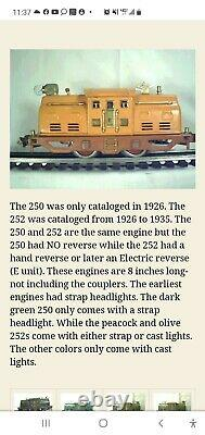 LIONEL PRE WAR O GAUGE 252 E LOCOMOTIVE AND 5 CARS 1925 THRU 1935. Incl. Track