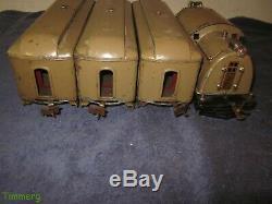 Lionel Prewar 10 0-4-0 Standard Gauge Electric Loco with337 337 338 Passenger Cars