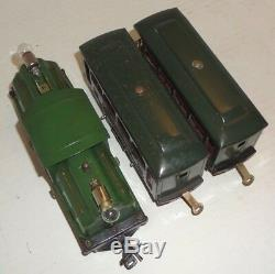 Lionel Prewar O-gauge 250 Green Locomotive, 629 Pullman & 630 Observation Cars