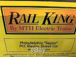 Mth Railking Philadelphia Septa Pcc Electric Street Car Trolley Rk-2503 O Gauge