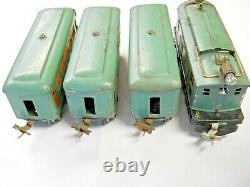 Prewar Lionel O Gauge 253 Locomotive 607 607 608 Passenger Cars Peacock Running